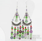Fancy Style Multi Color Crystal and Rainbow Fluorite Earrings