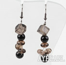 Dangle Style Smoky Quartz and Black Seashell Beads Earrings