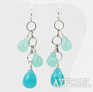 Wholesale New Design Dangle Blue Crystal and Blue Jade Earrings
