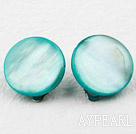 Classic Design Round Blue Green Dyed Shell Clip Earrings