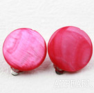 Classic Design Big Stil Peach Red Shell Ohrclips