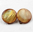 Wholesale Classic Design Big Style Yellow Brown Color Shell Clip Earrings