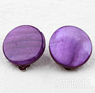 Wholesale Classic Design Big Style Purple Color Shell Clip Earrings