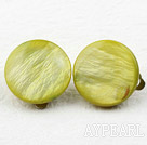 Wholesale Classic Design Big Style Olive Color Shell Clip Earrings