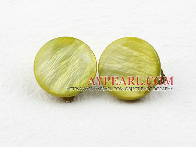 Classic Design Big Style Olive Color Shell Clip Earrings