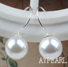 Wholesale Classic Design Round Shape 10mm White Seashell Beads Earrings