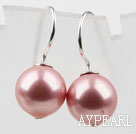 Classic Design Round Shape 10mm Pink Seashell Beads Earrings