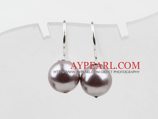 Classic Design Round Shape 10mm Purple Seashell Beads Earrings