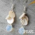Wholesale White Shell and Opal Crystal Dangle Earrings