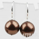 Classic Design Round Shape 10mm Coffee Brown Seashell Beads Earrings