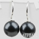 Classic Design Round Shape 10mm Black Seashell Beads Earrings