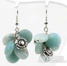 Fashion Assorted Amazon Stone And Metal Flower Charm Cluster Earrings With Fish Hook