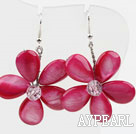 New Design Dyed Peach Pink Shell Flower Spring Earrings