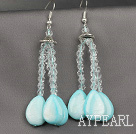 Wholesale Drop Shape Blue Shell and Clear Crystal Dangle Earrings