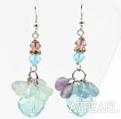 Green Series Cool Style Austrian Crystal and Rainbow Fluorite Earrings