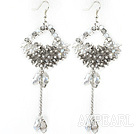 New Style Long Design Rhombus Shape Clear and Gray Crystal Tassel Earrings
