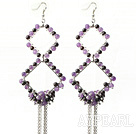 New Style Long Design Rhombus Shape Garnet and Amethyst Tassel Earrings
