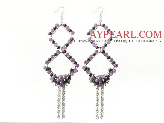 New Style Long Design Rhombus Shape Garnet and Amethyst Tassel Earrings
