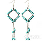 New Style Green Series Rhombus Shape Turquoise Tassel Long Earrings