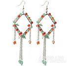 New Style Long Design Rhombus Shape Aventurine and Carnelian Tassel Earrings