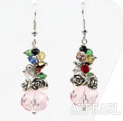 Wholesale Assorted Multi Color and Pink Manmade Crystal Earrings