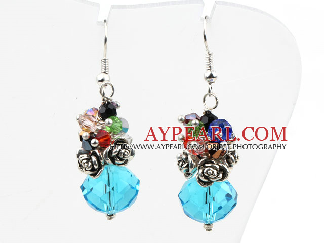 Assorted Multi Color and Lake Blue Color Manmade Crystal Earrings