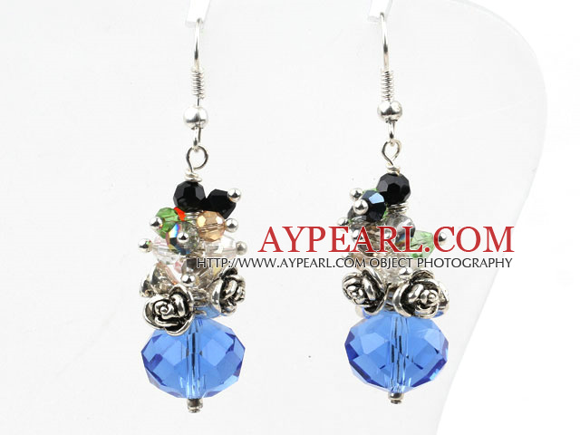 Assorted Multi Color and Blue Color Manmade Crystal Earrings