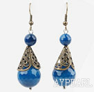Vintage Style 14mm Faceted Blue Agate Earrings