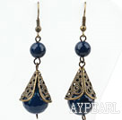 Vintage Style 12mm Faceted Blue Agate Earrings