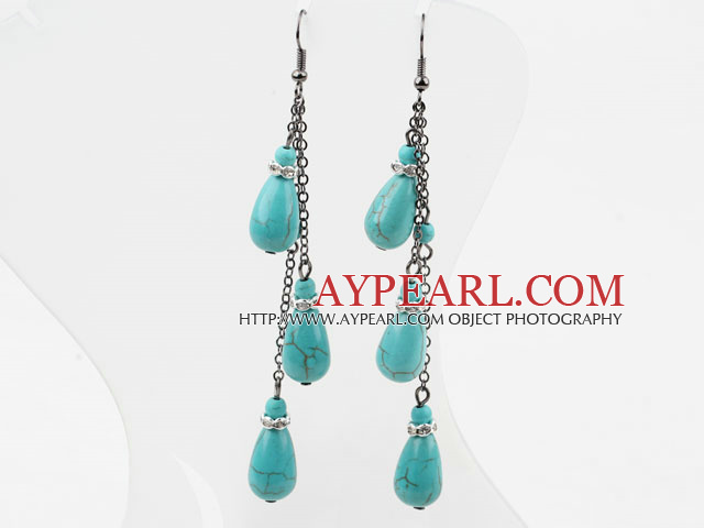 Long Style Drop Shape Turquoise Dangle Earrings