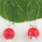 carved flower red coral beads earrings