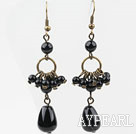 Long Style Assorted Black Agate Drop Earrings