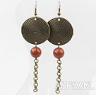 Vintage Loop Chain Style Round Gold Sandstone Earrings