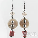 Lovely Gray Button Shape Agate And Cubic Volcanic Smoky Crystal Dangle Earrings