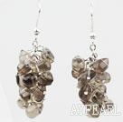 Cluster Style Smoky Quartz Crystal Earrings