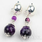 Wholesale Faceted Round Purple Agate Clip Earrings