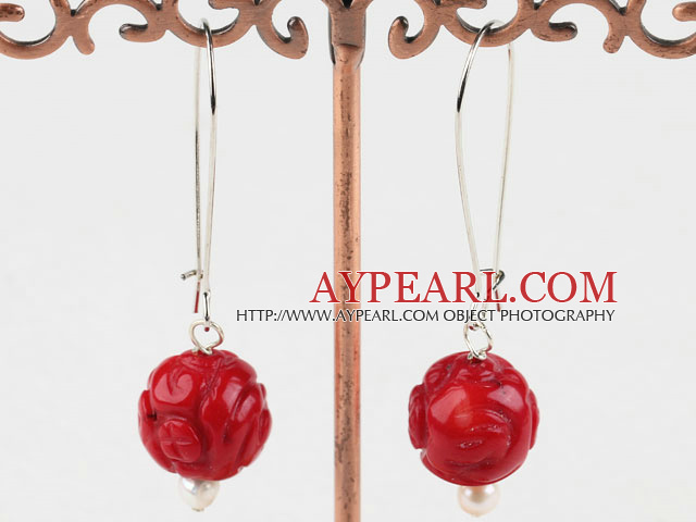 Fashion Carved Flower Red Coral Beads Dangle Earrings With Large Hoop Earwires