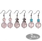 Wholesale Tea Color Woven Shape Colored Glaze Earrings
