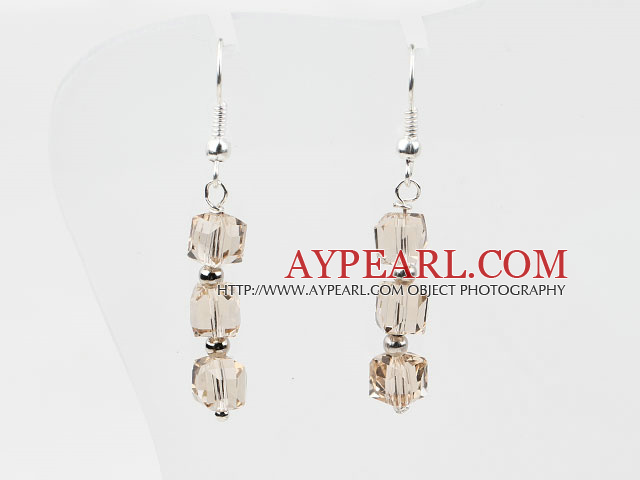 Dangle Style Champagne Color Manmade Crystal Earrings