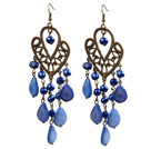 Vintage Style Chandelier Shape Blue Pearl Drop Shell Dangle Earrings With Heart Shape Bronze Accessory