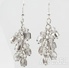 Popular Cluster Style Gray Crystal Loop Chain Dangle Earrings With Fish Hook