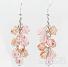 Cluster Style Baby Pink Manmade Crystal Earrings