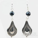 Simple Style Black Freshwater Pearl Earrings with Metal Accessories