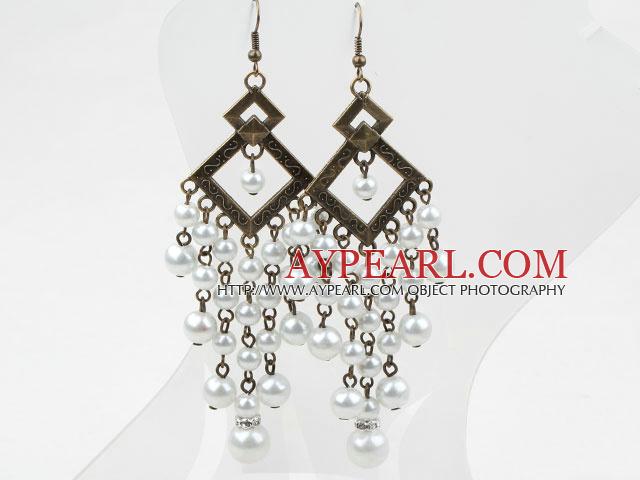 Vintage Style Acrylic Pearl Long Earrings