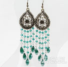 Wholesale Long Style Drop Shape Green Manmade Crystal Tassel Earrings