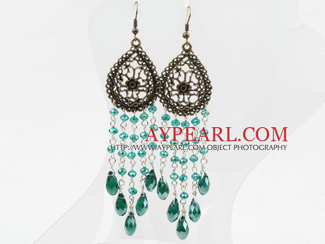 Long Style Drop Shape Green Manmade Crystal Tassel Earrings