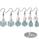 Wholesale 3 Pcs Simple Fashion Irregular Shape Blue Aquamarine And Pearl And Rose Quartz Earrings