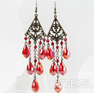Wholesale Long Style Drop Shape Red Manmade Crystal Earrings
