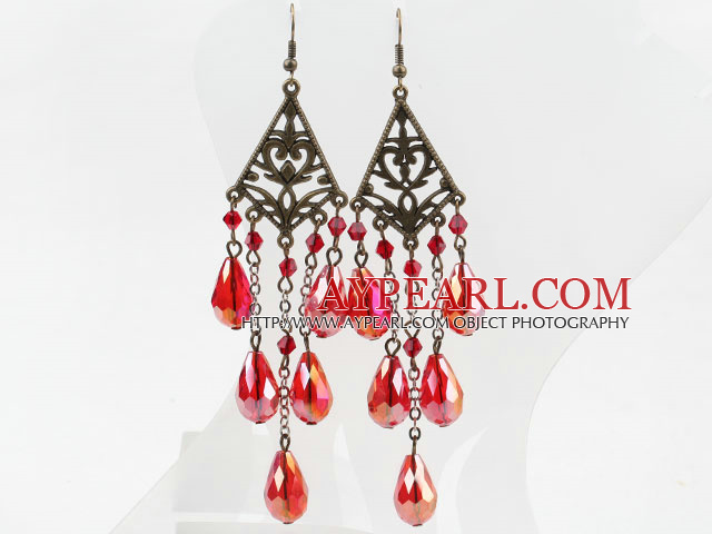 Long Style Drop Shape Red Manmade Crystal Earrings