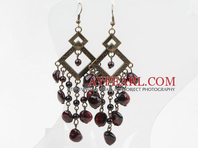 Vintage Style Long Design Assorted Garnet Earrings